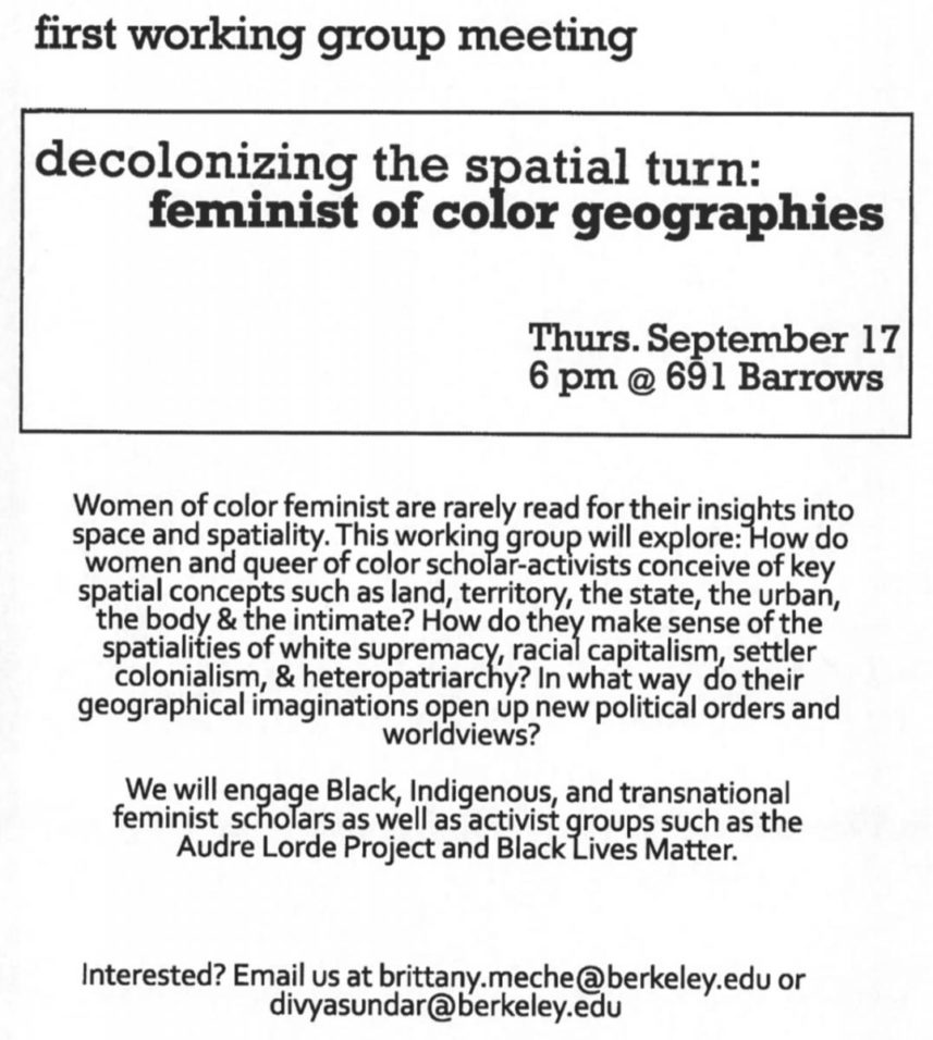 decolonizing the spatial turn: feminist of color geographies