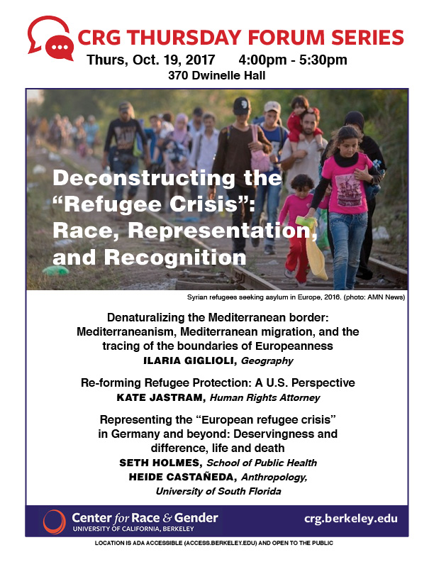 """Deconstructing the """"Refugee Crisis"""": Race, Representation, & Recognition"""